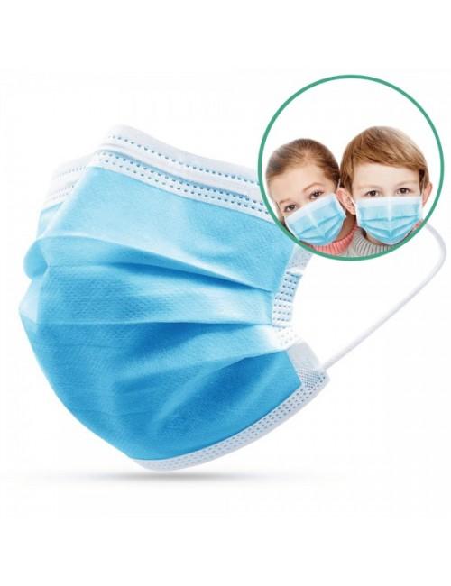 Masque de protection 3 plis jetable pour enfant (Pédiatrique) EN14683 Type IIR Bleu