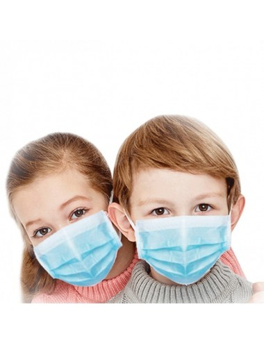 Masque de protection 3 plis jetable pour enfant (Pédiatrique) EN14683 Type 2R Bleu