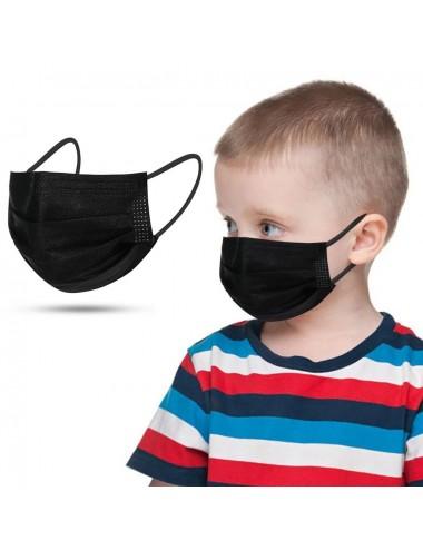 Masque de protection 3 plis jetable pour enfant (Pédiatrique) EN14683 Type 2R - Noir