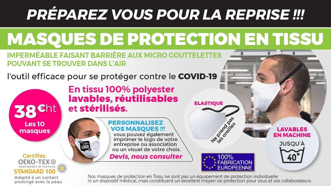 Protégez vos employés et collaborateurs avec nos masques en tissu réutilisable